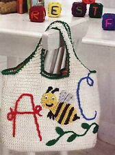 ~ ~ ~ CROCHET * *  PATTERN ONLY * * A-BEE-C TOTE AND BLOCKS ~ SO CUTE ~ ~ ~