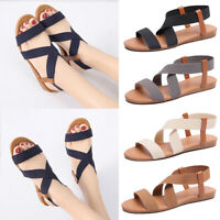 New Women Strappy Sandals Ladies Open Toe Slip on Flats Summer Casual Shoes Size