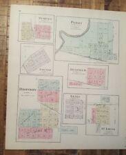 Antique Colored MAP - MEMPHIS, PERRY, BRONSON or BOURBON CO. - 1887 KANSAS ATLAS