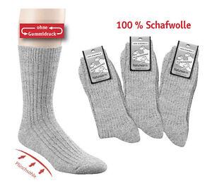 Socken 100 % Schaf Wolle naturwarm ohne Gummidruck gepolsterte Sohle neu grey
