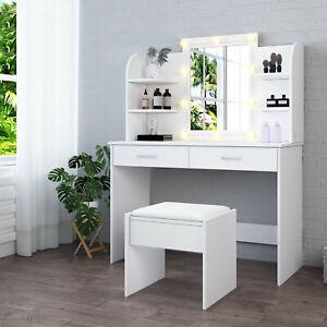 Modern Dressing Table Makeup Desk w/LED Lighted Mirror&Drawer Stool Bedroom New