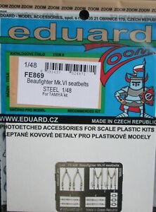 Eduard 1/48 FE869 Colour Steel Etch Seatbelts - Tamiya Beaufighter VI kit