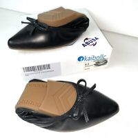 Foldable Black Leather Ballet Flats Shoes ABUSA Womens Size 8.5 Pointed Toe NEW