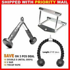 Home Gym Attachments Tricep Rope Seated Row Handle V Curl Bar Set