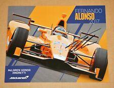 Fernando Alonso SIGNED Indy Car 2017 Indianapolis 500 McLaren Hero Card Photo