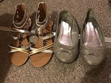 Girls Size 1 Summer Shoe Sandals Bundle  Silver Gold Flat Dolly Shoes
