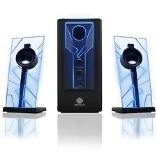 GOgroove BassPULSE Glowing Blue LED Computer Speaker Sound System - Works wit...