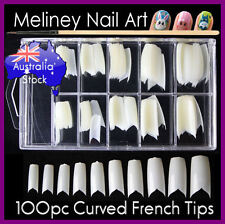 100pc v shape curved french false nail tips white natural manicure nails