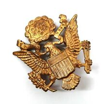 WWII gold brass eagle device US Army visor cap hat Military emblem pin ww2 mint