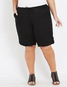 NEW Women's Autograph LINEN Short - BLACK Plus Size RRP $59.99