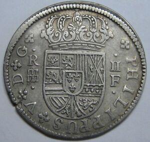 1721 SEGOVIA 2 REAL PHILIP V ASSAYER F SPANISH COLONIAL SILVER COIN SPAIN