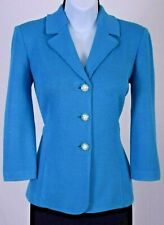 NWT ST.JOHN Collection Womens Knit Blue Pearl Buttons Jacket Sz 6