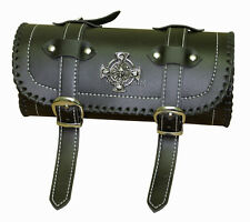 Iron Cross Skulls Motorcycle Biker Leather Tool Bag Barrel Roll
