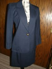 2998) JH Collectibles Petites Vntg Navy Skirt Suit Jacket Brass Buttons