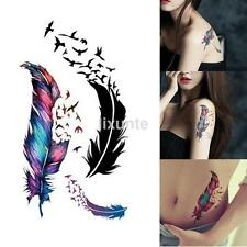 Large Feather Pattern Removable Waterproof Temporary Tattoo Body Art Sticker CA