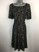 WOMENS M&S COLLECTION BLACK BEIGE EMBOSSED SHORT SLEEVE FITTED FLARE DRESS UK 12