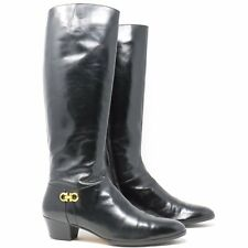 Salvatore Ferragamo Riding Knee High Black Leather Boots Zip - Size 8AA- Italy