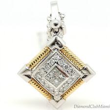 Estate 0.72ct Diamond 18K Gold Drop Pendant Necklace 9.6 Grams