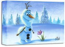 "DISNEY  Fine Art - ""SNOWMAN IN SPRING""-SIZE: 12 X 16 | GICLÉE ON CANVAS"