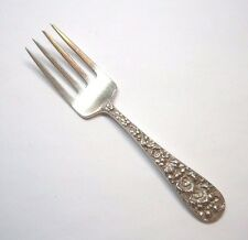 """1 STIEFF, FORGET ME NOT PATTERN BABY FORK 4 1/2"""" STERLING SILVER 925"""