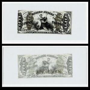 "US 50c Fractional Currency Note Narrow Margin Front ""Specimen"" FR 1357a"