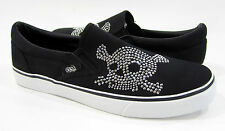 PR Shoes Laceless Lo Athletic Rhinestone Black Sneakers Size 10