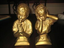 Vintage Pair of Chalkware Busts Boy with Flute Girl Holding Ears Esco Products