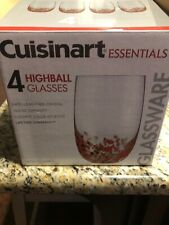 Cuisinart Essentials Glassware Highball Glasses Set Of 4 Red Gold