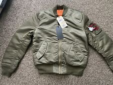 New NWT Alpha Industries MA-1 Slim Fit Bomber Jacket Vintage Olive Size M