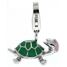 Sterling Silver Enameled TURTLE 3D Charm w/ Lobster Clasp for Bracelet