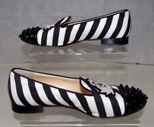 Christian Louboutin intern black and white striped studded flats uk4.5