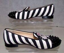 Christian Louboutin intern black and white striped studded flats uk4.5