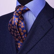 Gold Series Designed in Italy Paisley Woven Tie, Blue With Gold Boss Fashion