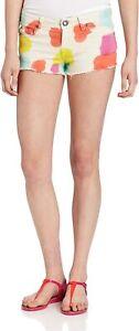 Volcom Womens Juniors High Voltage Printed Denim Cut Off Mini Shorts Size 9 NWT