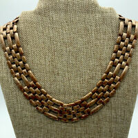 """Gold Tone Chunky Wide Link Collar Necklace 19"""""""