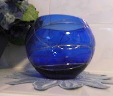 Partylite Kerzenhalter Votivkerzenhalter Teelichthalter Calypso Glas blau silber
