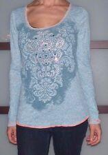 EUC Women's Medium Daytrip Light Blue Damask Pattern Sequin Accent Shirt Tee Top