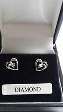 9ct white gold heart stud earrings  diamond
