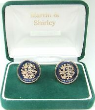 3 LIONS UK £1 Cufflinks made from real coins in BLUE & GOLD