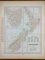 Vintage 1900 NEW ZEALAND Atlas Map ~ Old Antique Original WELLINGTON NEWTOWN