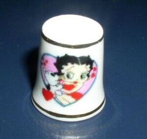Betty Boop with Her Pet Dog Pudgy In Heart Frame Double Gold Trims Thimble