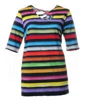 Sempre Piu Long-Shirt Blockstreifen-Muster für Damen halbarm bunt große Größen