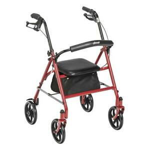 DRIVE 1 EA Durable 4-Wheel Rollator Red Fold-Up Removable Back 10257RD-1 CHOP