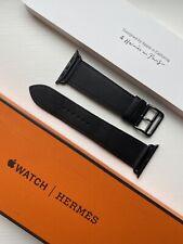 Apple Hermes Strap - 44/42mm Noir Swift Leather Single Tour