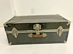 Vintage STEAMER TRUNK w Tray green metal chest coffee table storage toy box loft