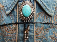 NEW TURQUOISE COLOUR BOLO BOOTLACE TIE SILVER METAL LEATHER CORD WESTERN COWBOY