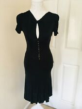 Karen Millen uk 10/38 black Tea dress ,20s, flapper, landgirls 😍
