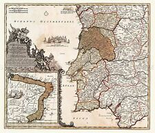 MAP ANTIQUE 1704 HOMANN PORTUGAL BRAZIL OLD LARGE REPLICA POSTER PRINT PAM0180