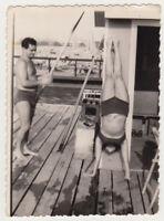 Shirtless Man & Woman  Beach Bikini Swimsuit Female Abstract Snapshot Old Photo