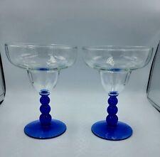 Margarita Glasses, set of 2, Cobalt Blue Stems